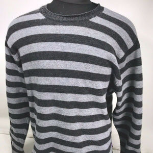 Patagonia Gray Striped Lambswool Crewneck Pullover